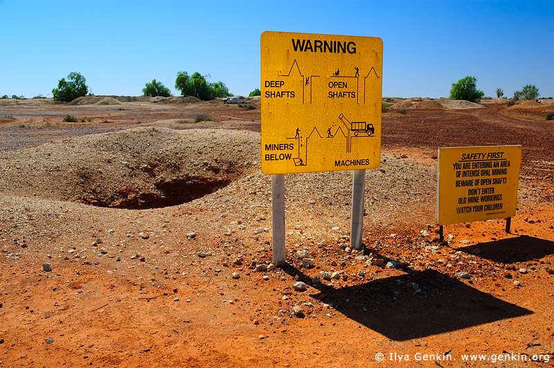 australia stock photography | Warning Sign at White Cliffs Opal Mines, White Cliffs, NSW, Australia, Image ID WHITE-CLIFFS-OPAL-MINES-0007