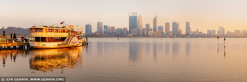 australia stock photography | Paddle Steamer P.S. Decoy with Perth Skyline, Mends Street Jetty, Perth, WA, Australia, Image ID AU-PERTH-0002