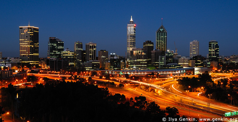 australia stock photography | Perth Downtown, View from Kings Park, Perth, WA, Australia, Image ID AUPE0001
