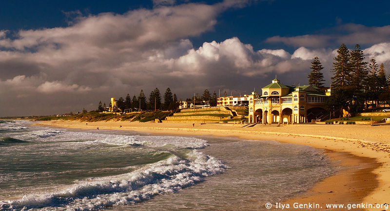 australia stock photography | The Indiana Teahouse at Sunset, Cottesloe Beach, Perth, WA, Australia, Image ID AUPE0008