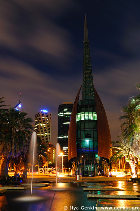 australia stock photography | The Swan Bell Tower at Night, Perth, WA, Australia, Image ID AUPE0011
