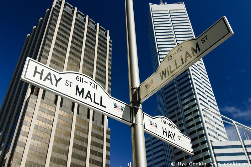 australia stock photography | Corner of William and Hay Streets, Perth, WA, Australia, Image ID AUPE0023