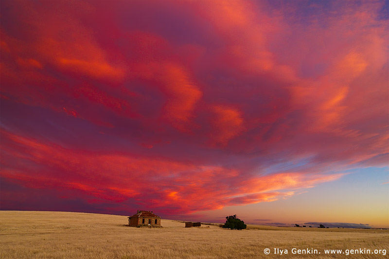 australia stock photography | Abandoned Farmhouse at Dusk, Burra, South Australia (SA), Australia, Image ID AU-BURRA-0004