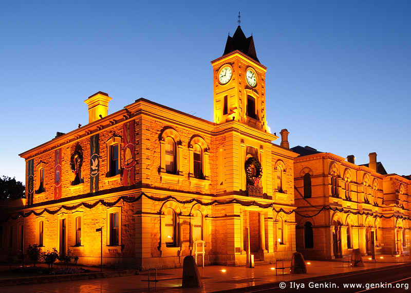australia stock photography | Old Town Hall (City Hall) at night., Mount Gambier, South Australia (SA), Australia, Image ID AU-MOUNT-GAMBIER-0001