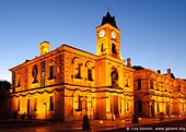 australia stock photography | Old Town Hall (City Hall) at night., Mount Gambier, South Australia (SA), Australia, Image ID AU-MOUNT-GAMBIER-0001. Mount Gambier Old Town Hall (City Hall) at night. The Old Town Hall, built in 1882, was the first purpose built construction for local government.
