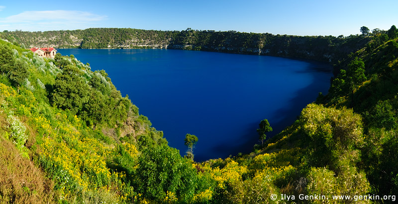 australia stock photography | The Blue Lake Panorama, Mount Gambier, South Australia (SA), Australia, Image ID AU-MOUNT-GAMBIER-0003