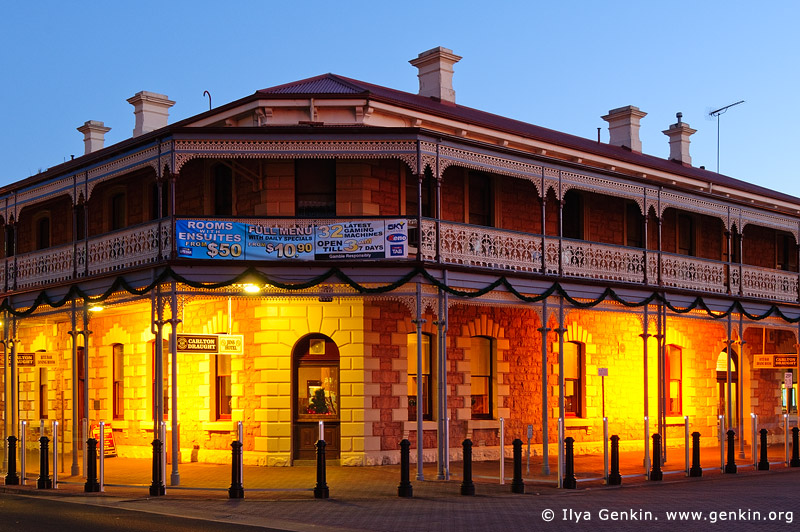australia stock photography | Jens Town Hall Hotel at Twilight, Mount Gambier, South Australia (SA), Australia, Image ID AU-MOUNT-GAMBIER-0005
