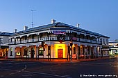 australia stock photography | Mount Gambier Hotel at Twilight, Mount Gambier, South Australia (SA), Australia, Image ID AU-MOUNT-GAMBIER-0008. Stock image of the the Mount Gambier Hotel. The Hotel was established in 1862 and has a National Trust listing.