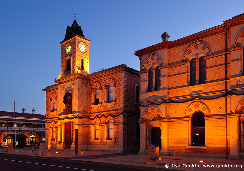 australia stock photography | Old Town Hall (City Hall) at night., Mount Gambier, South Australia (SA), Australia, Image ID AU-MOUNT-GAMBIER-0010