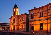 australia stock photography | Old Town Hall (City Hall) at night., Mount Gambier, South Australia (SA), Australia, Image ID AU-MOUNT-GAMBIER-0010.