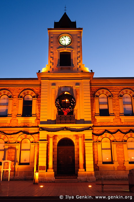 australia stock photography | Old Town Hall (City Hall) at night., Mount Gambier, South Australia (SA), Australia, Image ID AU-MOUNT-GAMBIER-0012