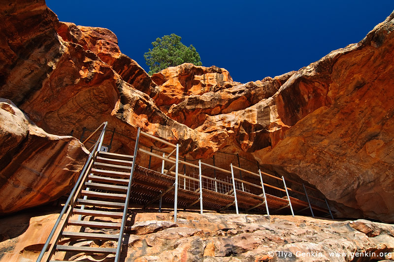 australia stock photography | Stairs and Entrance to the Yourambulla Caves Aboriginal Painting Site, Hawker, Flinders Ranges, South Australia (SA), Australia, Image ID AU-YOURAMBULLA-CAVES-0001