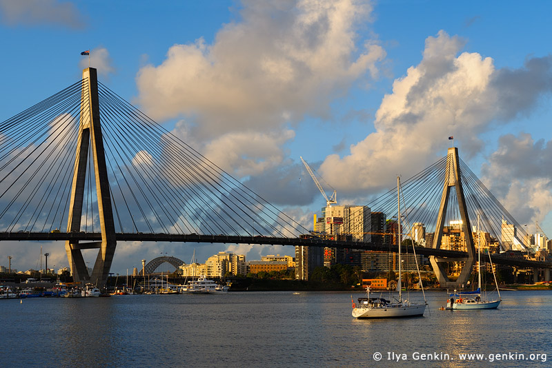 australia stock photography | Anzac Bridge at Sunset, Glebe, Sydney, NSW, Australia, Image ID AU-SYDNEY-ANZAC-BRIDGE-0001