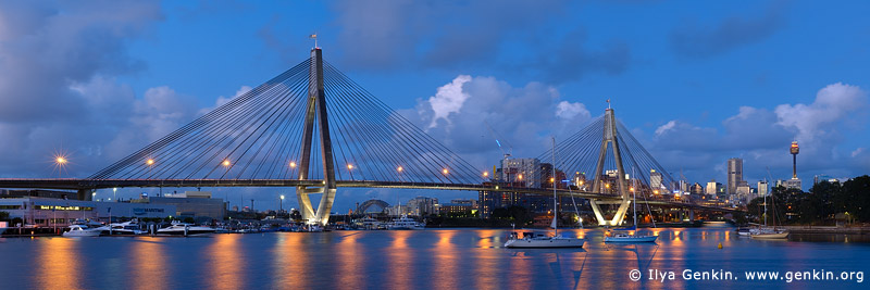 australia stock photography | Panoramic View of the Anzac Bridge, Glebe, Sydney, NSW, Australia, Image ID AU-SYDNEY-ANZAC-BRIDGE-0002