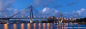 australia stock photography | Panoramic View of the Anzac Bridge, Glebe, Sydney, NSW, Australia, Image ID AU-SYDNEY-ANZAC-BRIDGE-0002. Bicentennial and Jubilee Parks in Glebe, Sydney, Australia offer visitors, tourists and locals great views of the Anzac Bridge, Rozelle Bay and Sydney city skyline. These waterfront parks provide diverse opportunities for active and passive recreation including floodlit sports fields, adventure playgrounds, native wetlands, beaches and off-leash areas. The parks are well serviced by public transport including bus routes and metro light rail.