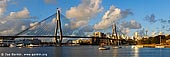 australia stock photography | Panoramic View of the Anzac Bridge at Sunset, Glebe, Sydney, NSW, Australia, Image ID AU-SYDNEY-ANZAC-BRIDGE-0004. Anzac Bridge in Sydney, NSW, Australia, spanning Johnstons Bay at Glebe, is one of Sydney's most recognisable landmarks. Formerly known as the Glebe Island Bridge, was completed in 1996. With a span of 345 metres, it is the longest cable-stayed bridge in Australia.