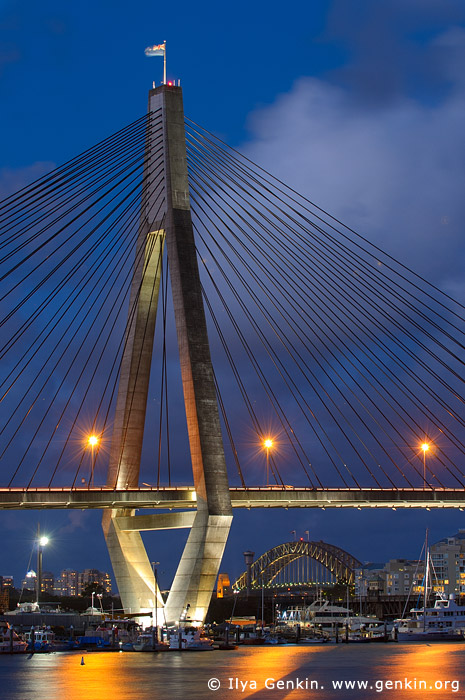 australia stock photography | Anzac Bridge and Sydney Harbour Bridge at Night, Glebe, Sydney, NSW, Australia, Image ID AU-SYDNEY-ANZAC-BRIDGE-0005