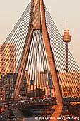 australia stock photography | Anzac Bridge and Sydney Tower at Sunset, Glebe, Sydney, NSW, Australia, Image ID AU-SYDNEY-ANZAC-BRIDGE-0007. Stock photo of the Anzac Bridge and Sydney Tower in Sydney, NSW, Australia at sunset with Sydney city CBD in the background.