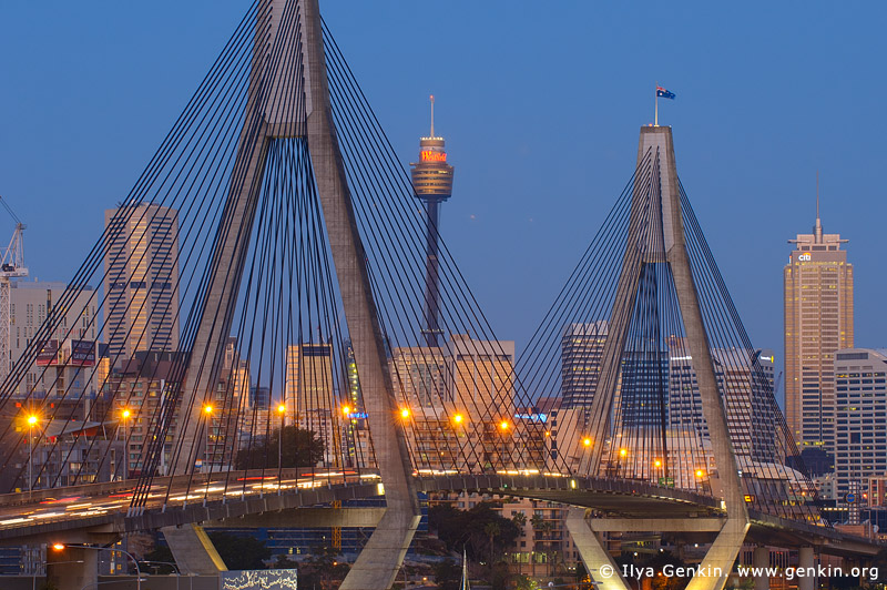 australia stock photography | Anzac Bridge and Sydney Tower at Dusk, Glebe, Sydney, NSW, Australia, Image ID AU-SYDNEY-ANZAC-BRIDGE-0008