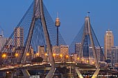 australia stock photography | Anzac Bridge and Sydney Tower at Dusk, Glebe, Sydney, NSW, Australia, Image ID AU-SYDNEY-ANZAC-BRIDGE-0008. Early evening at the Anzac Bridge in Sydney, NSW, Australia when people are travelling back home from the city after a day at work. Blue evening sky perfectly matches with golden tone of the bridge, Sydney Tower and city skyscrapers and buildings.