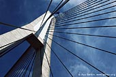 australia stock photography | Anzac Bridge Pylon, Glebe, Sydney, NSW, Australia, Image ID AU-SYDNEY-ANZAC-BRIDGE-0009. Stock image of the Anzac Bridge Pylon in Sydney, NSW, Australia against blue sky.