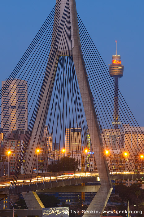 australia stock photography | Anzac Bridge and Sydney Tower at Twilight, Glebe, Sydney, NSW, Australia, Image ID AU-SYDNEY-ANZAC-BRIDGE-0011