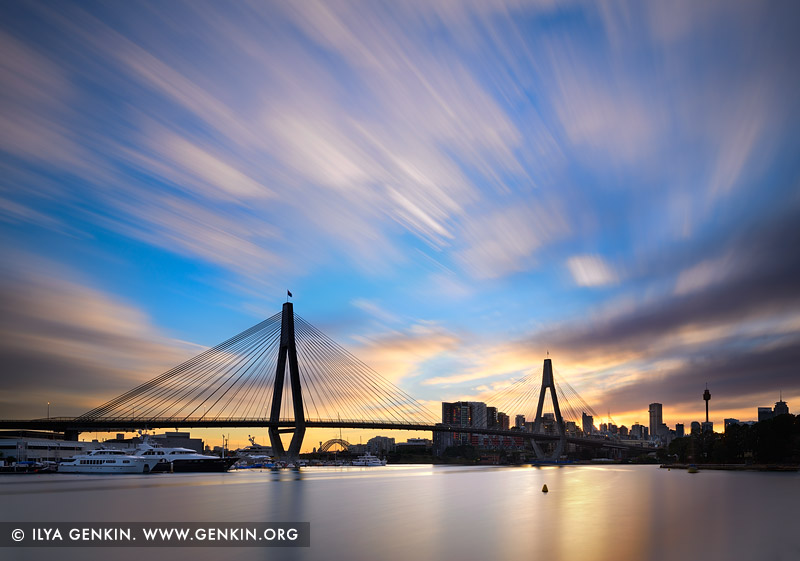 australia stock photography | Anzac Bridge at Sunrise, Glebe, Sydney, NSW, Australia