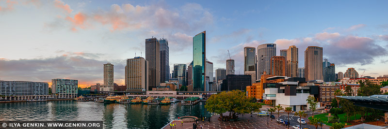 australia stock photography | Panoramic View of Circular Quay and Sydney City at Dawn, Sydney, New South Wales (NSW), Australia., Image ID AU-SYDNEY-CIRCULAR-QUAY-0018