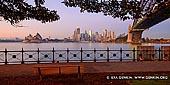 australia stock photography | The Sydney City CBD at Sunrise from Kirribilli, Sydney, NSW, Australia, Image ID AU-SYDNEY-0017. Early morning panoramic image of the Sydney city skyline with the Opera House and the Harbour Bridge with clear skies from Kirribilli in Sydney, NSW, Australia.