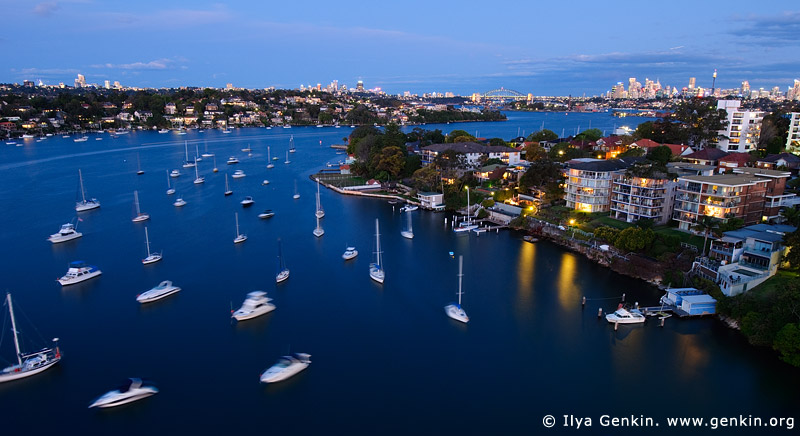 Parramatta River and Drummoyne After Sunset, Gladesville Bridge, Sydney, New South Wales (NSW), Australia