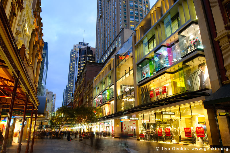 australia stock photography | Pitt Street Mall after Sunset, Sydney, NSW, Australia, Image ID AU-SYDNEY-0004