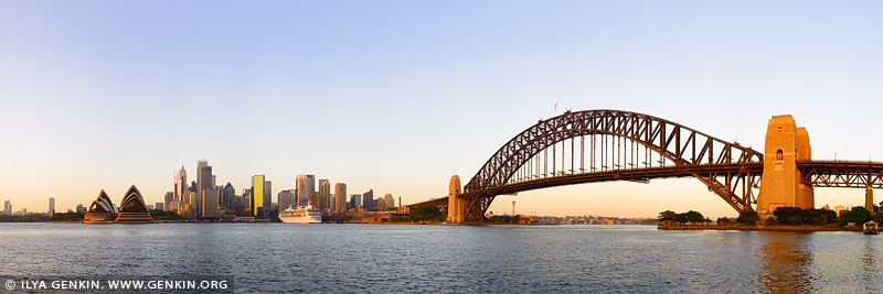 Panorama of the Sydney Harbour at Sunrise, Sydney, New South Wales, Australia