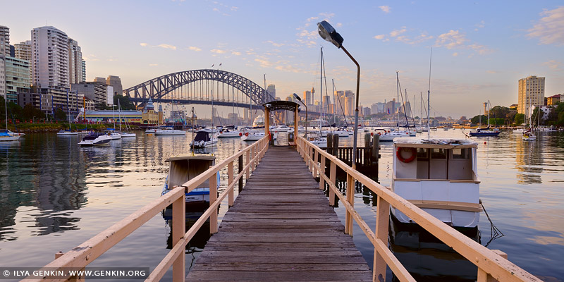 australia stock photography | Lavender Bay Wharf at Sunrise, McMahons Point, Sydney, NSW, Australia, Image ID AU-SYDNEY-0024