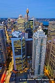 australia stock photography | City of Sydney at Twilight from Above, Sydney, NSW, Australia, Image ID AU-SYDNEY-0029. Stock image of the City of Sydney with high-rise buildings and the Sydney Tower and illuminated streets at twilight.