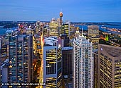 australia stock photography | Sydney at Night from Above, Sydney, NSW, Australia, Image ID AU-SYDNEY-0030. The deep blue coloring of the sky settles in over the City of Sydney in NSW, Australia at dusk creating beautiful view.