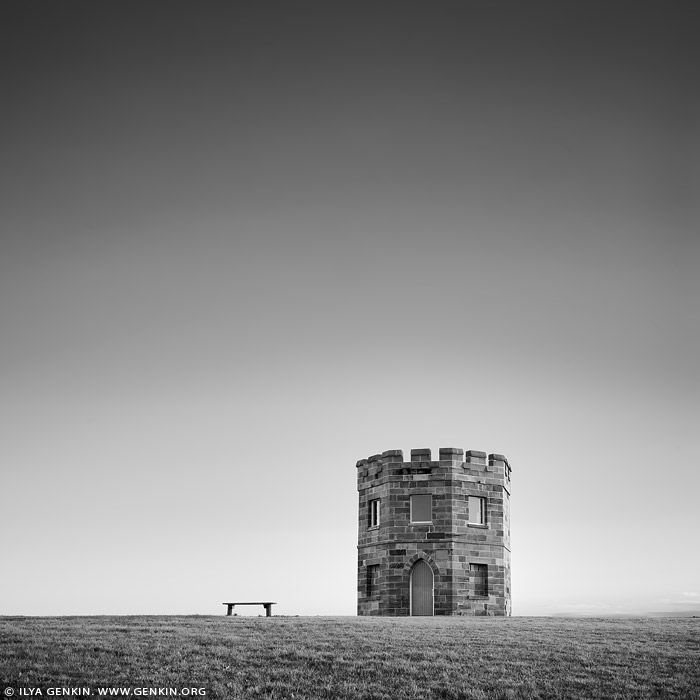 australia stock photography | Customs Tower and the Bench in Black and White, La Perouse, Botany Bay, Sydney, NSW, Australia