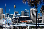 australia stock photography | Monorail at Darling Harbour, Sydney, New South Wales (NSW), Australia, Image ID AU-SYDNEY-DARLING-HARBOUR-0003. Monorail is a very popular transport and tourist attraction in Sydney. Sydney Monorail operates every day of the year except Christmas Day. The Monorail runs every 3 to 5 minutes linking the City with Darling Harbour providing easy access to many of Sydney's tourist attractions.