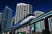 australia stock photography | Monorail at Darling Harbour, Sydney, New South Wales (NSW), Australia, Image ID AU-SYDNEY-DARLING-HARBOUR-0005. Sydney Monorail is a wonderful experience for all tourists as it offers a magnificent bird's eye view of one of the world's most breathtaking cities. Chinatown, Darling Harbour, business districts, the Spanish Quarter the central shopping centres, and Sydney's main streets, all can be seen while taking a ride in the monorail. It also gives the passengers a great view of the historical Queen Victoria Building.