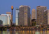 australia stock photography | Sydney CBD from Darling Harbour , Sydney, New South Wales, Australia, Image ID AU-SYDNEY-DARLING-HARBOUR-0010. Stock photo of the Sydney CBD (downtown) and Cockle Bay Wharf at Darling Harbour, Sydney, NSW, Australia after sunset as it's seen from west-side promenade.
