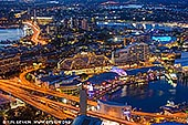 australia stock photography | Darling Harbour at Night from Above, Sydney, NSW, Australia, Image ID AU-SYDNEY-DARLING-HARBOUR-0027. The deep blue colouring of the sky settles in over the Darling Harbour in Sydney in NSW, Australia at dusk creating beautiful view.