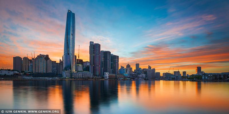 australia stock photography | Vivid Sunrise at Crown Casino, Barangaroo and Darling Harbour, Sydney, New South Wales, Australia, Image ID AU-SYDNEY-BARANGAROO-0006