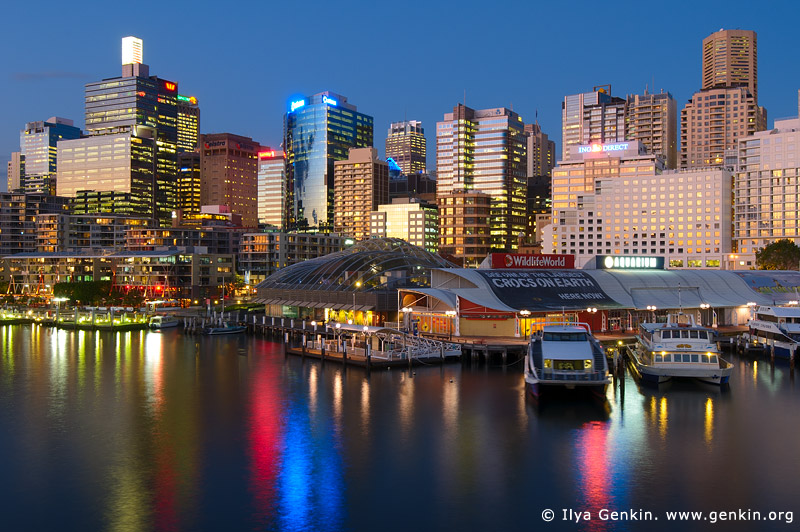 australia stock photography | Darling Harbour at Twilight, Sydney, New South Wales, Australia, Image ID AU-SYDNEY-DARLING-HARBOUR-0001