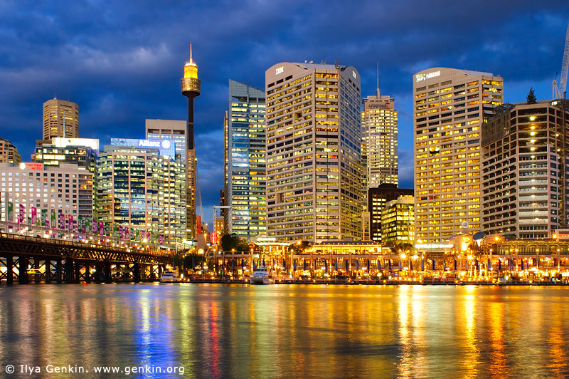 australia stock photography | Darling Harbour after Sunset, Sydney, New South Wales, Australia, Image ID AU-SYDNEY-DARLING-HARBOUR-0006