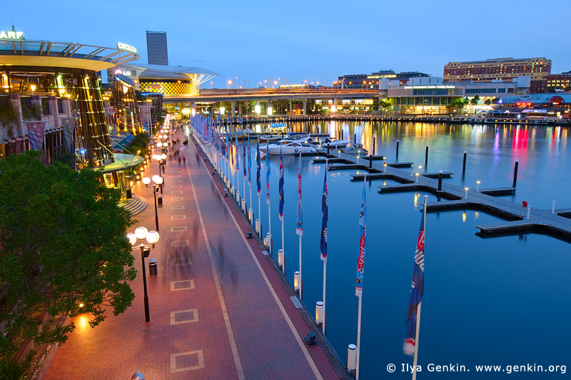 australia stock photography | Cockle Bay Wharf Promenade at Sunset, Darling Harbour, Sydney, NSW, Australia, Image ID AU-SYDNEY-DARLING-HARBOUR-0011