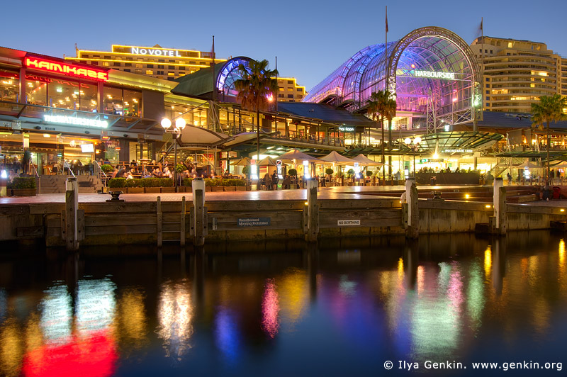 australia stock photography | Waterfront Promenade at Darling Harbour after Sunset, Sydney, NSW, Australia, Image ID AU-SYDNEY-DARLING-HARBOUR-0014