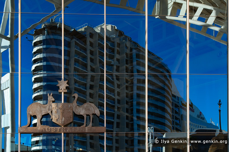 australia stock photography | Building Reflected in Maritime Museum Window, Darling Harbour, Sydney, NSW, Australia, Image ID AU-SYDNEY-DARLING-HARBOUR-0023