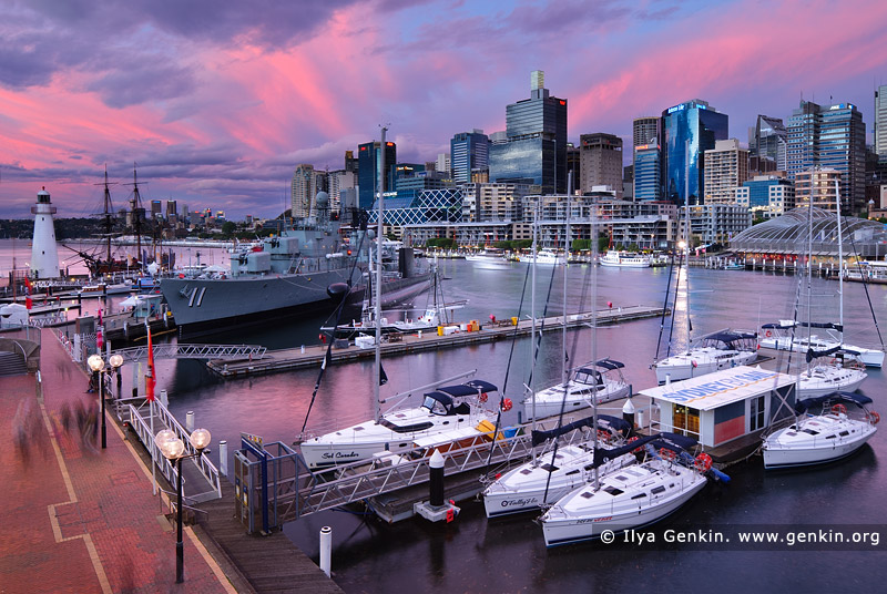 australia stock photography | Dramatic Sunset Above Darling Harbour, Sydney, New South Wales, Australia