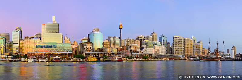 australia stock photography | Darling Harbour Panorama at Twilight, Sydney, New South Wales, Australia, Image ID AU-SYDNEY-DARLING-HARBOUR-0026