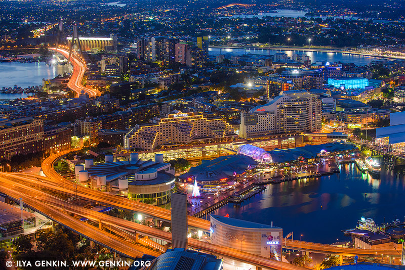australia stock photography | Darling Harbour at Night from Above, Sydney, NSW, Australia