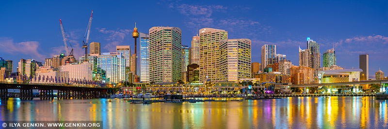 australia stock photography | Darling Harbour Panorama at Dusk, Sydney, New South Wales, Australia, Image ID AU-SYDNEY-DARLING-HARBOUR-0028